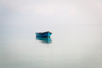 Blue boat on the sea in Koh Rong Samloem, Cambodia