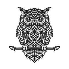 Vector drawing black and white illustration of ethnic sitting owl for t-shirt, tattoo, print and poster.