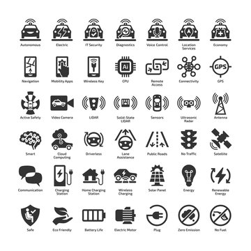 Self driving electric car 42 vector icon set. Autonomous driverless sensor smart eco vehicle and charger station isolated pictogram.