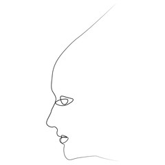 Girl s face one line