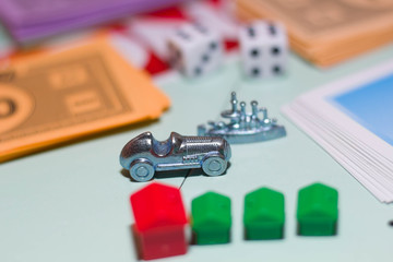 Game monopoly close up.
