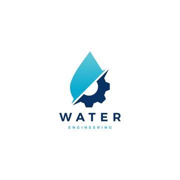 water drop gear energy engineering logo vector icon illustration