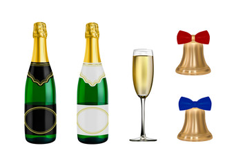 New year champagne vector.The bell is Golden in the vector.