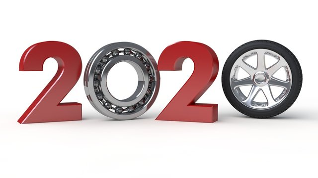 3D illustration of 2019, the date of the new year with the rolling bearing. The idea of the mechanism of the time machine, the movement from the past to the future. 3D rendering on white background