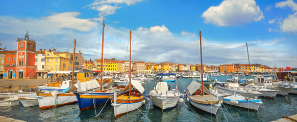 Wall Mural - Cityscape with bell tower and marina in harbour of Rovinj town. Istria, Croatia