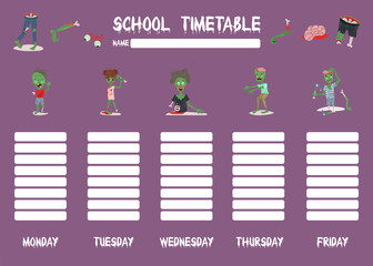 Template school timetable for students or pupils with days of week and free spaces for notes. Illustration includes halloween weekly template people zombie teen body part.