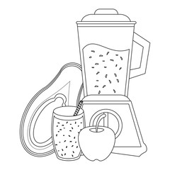 Fruit juice and smoothie in black and white