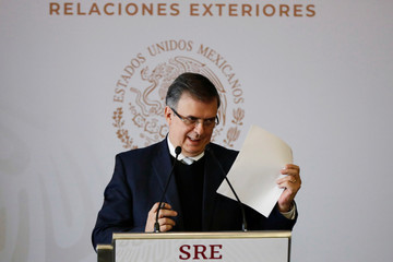 Mexico's Foreign Minister Marcelo Ebrard announces a joint development plan between Mexico and the United States for the northern triangle of Central America, in Mexico City
