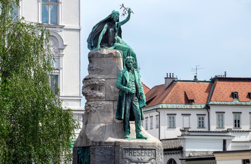 The Monument of France Preseren, a national slovenian poet in the Capital of Ljubljana
