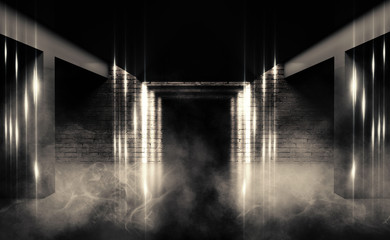 Background of an empty dark room with brick shades, illuminated by neon lights with laser beams, smoke
