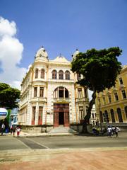 Recife, Brazil - Circa December 2018: Commercial Association of Pernambuco historic building at Marco Zero Square in Old Recife