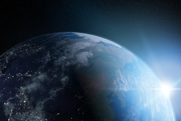 Image of blue Planet Earth 3D rendering elements