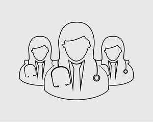 Female Medical Team line Icon. Women doctor symbols on gray background.