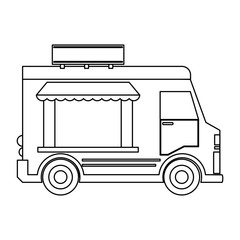 Food truck restaurant in black and white