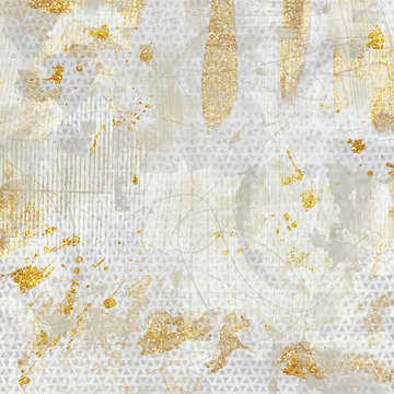 Abstract metallic textured background. Collage with gold glitter, sparkles and foil mixed with an artsy colorful texture.