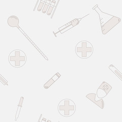 seamless pattern of medical laboratory symbols. Flat design. health icon