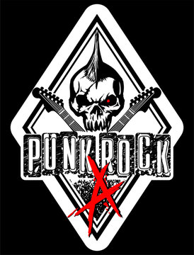punk rock skull vector illustration