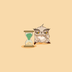 howlet sticker emoticon sits at hourglass