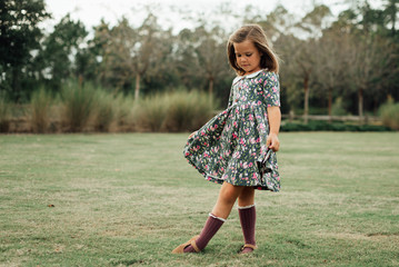 Young girl in a floral dress