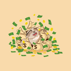 owl sticker emoticon happy on bags of money