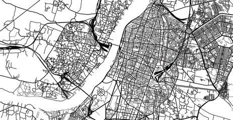 Urban vector city map of Kolkata, India Papier Peint