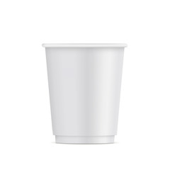 Small paper disposable cup mockup isolated on white background - front view. Vector illustration