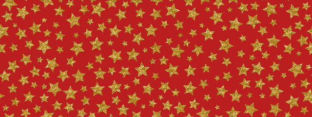 Christmass glitter gold stars repeat seamless pattern background. Can be used for fabric, wallpaper, stationery, packaging.