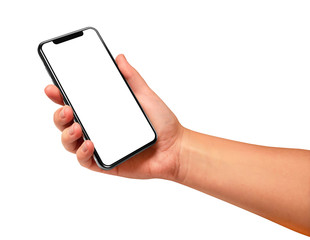 Woman hand holding the black smartphone with blank screen isolated on white