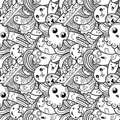 Funny doodle monsters on seamless pattern for prints, designs and coloring books