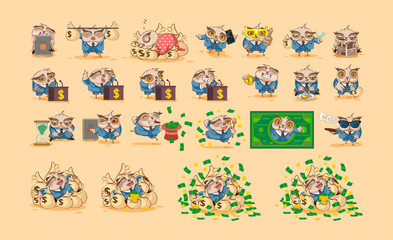 Set owls in business suit stickers emoticons