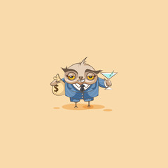 Howlet in business suit emoticon with bag of money
