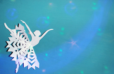 Ballet dancer silhouette, magical background Christmas or winter.