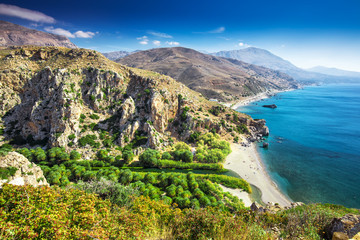 Preveli beach on Crete island with azure clear water, Greece, Europe