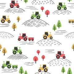 Motif coloré sans couture avec des tracteurs de doodle.