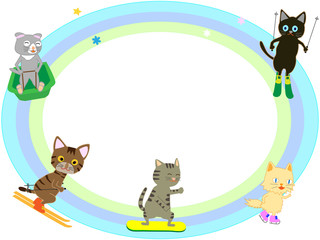 猫たちのウィンタースポーツ。