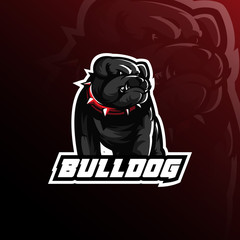 bulldog vector mascot logo design with modern illustration concept style for badge, emblem and tshirt printing. angry bulldog illustration.