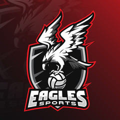 eagle vector mascot logo design with modern illustration concept style for badge, emblem and tshirt printing. angry eagle illustration by holding the ball.
