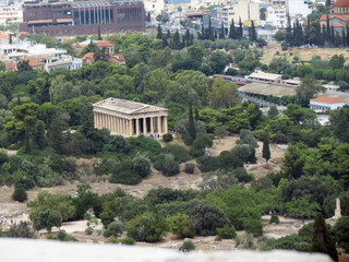Europe,Athens,ancient temple in the Agora, surrounded  by trees