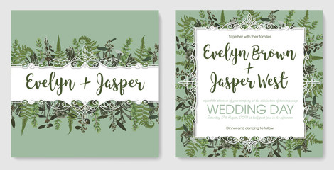 Set for wedding invitation, greeting card, save date, banner. Vintage frame with green fern leaf, boxwood, brunia and eucalyptus. Isolated