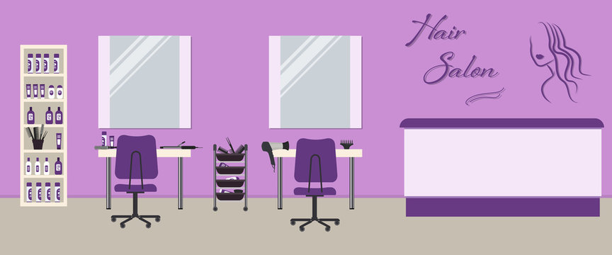 Hair salon interior in a purple color. Beauty salon. There are tables, chairs, mirrors and shelves with hairdressing accessories in the image. There is woman's silhouette and text Hair Salon on a wall