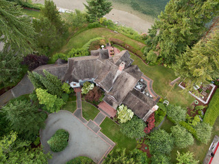 aerial photos of a large house