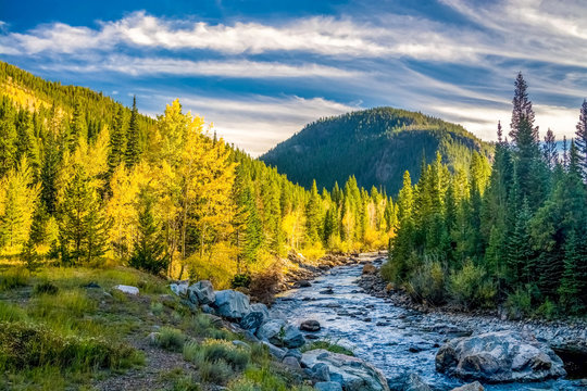 River and Mountains in Fall