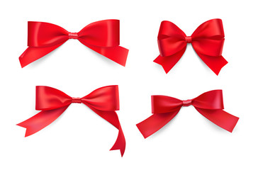 Set of red ribbon bows. Vector illustration isolated on white background. Сan be used in the design wedding, wrappers, gifts, wallpapers, greeting card, ets. EPS10.
