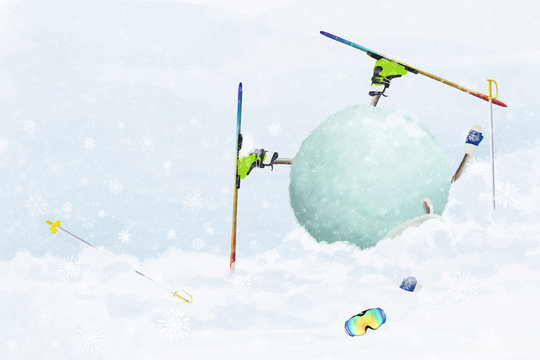 "Cartoon sheep lying in a snowdrift head down, accident on the ski downhill. Cute comic illustration ""be careful, look ahead"""