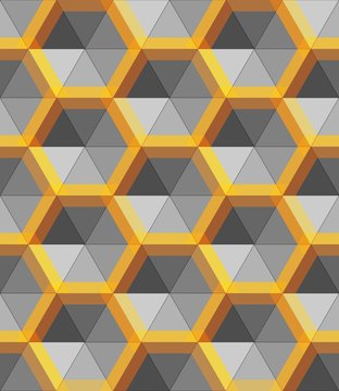 Hexagon silver and gold abstract form, vector metal object