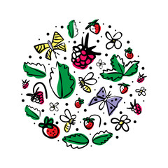 Vector round illustration with berries, bees,butterflies, flowers and leaves on a white background. Great for product design for kids. Hand drawn