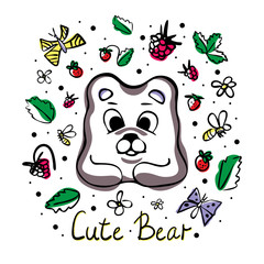 Vector illustration with cute bear, berries, bees, flowers and leaves on a white background. Great for product design for kids. Hand drawn