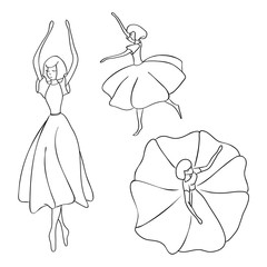 Set of silhouettes of dancing girls. Black outline without background. Isolated template.