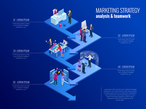 Isometric presentation business infographics template with 5 options. Business data visualization, digital marketing, strategy, marketing, technologies. Process chart. Creative concept for infographic
