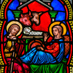Fototapete - Nativity Scene - Christmas Card - Stained Glass in Monaco Cathedral